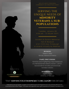 Serving the Unique Needs of Minority Veterans and Sub-Populations Keynote & Panel Discussion Event @ Soldiers & Sailors Memorial Hall & Museum